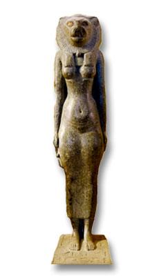 Statuette de Bastet avec tête de lion (musée du Louvre)