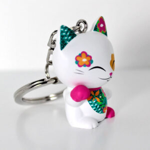 Porte-clés Mani the Lucky Cat Blanc, profil