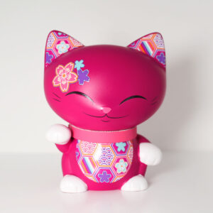 Mani the lucky cat fuchsia, 7 cm