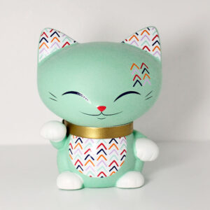 Mani the lucky cat vert menthe, 7 cm