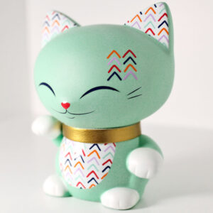 Mani the lucky cat vert menthe, profil