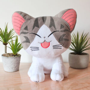 Grande peluche de chat rieur, collection Kawaï