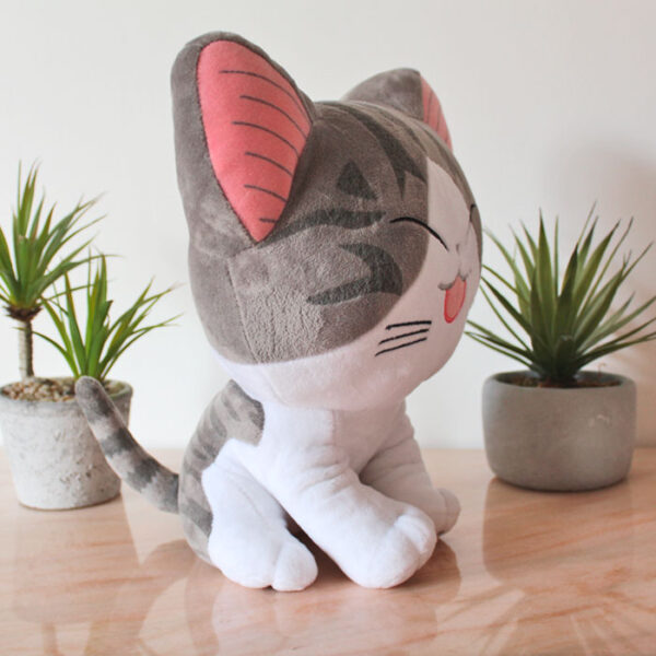 Grande peluche de chat rieur, collection Kawaï - profil