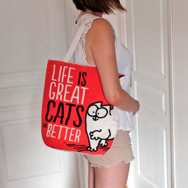 "Sac Simon's Cat ""Life is great, CATS are better"""
