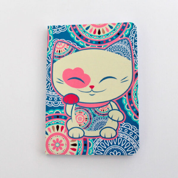 Carnet Mani the lucky cat bleu