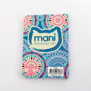 Carnet Mani the lucky cat bleu, verso