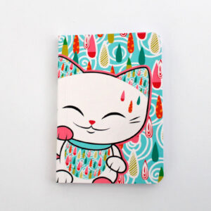 Carnet Mani the lucky cat, décor de gouttes colorées