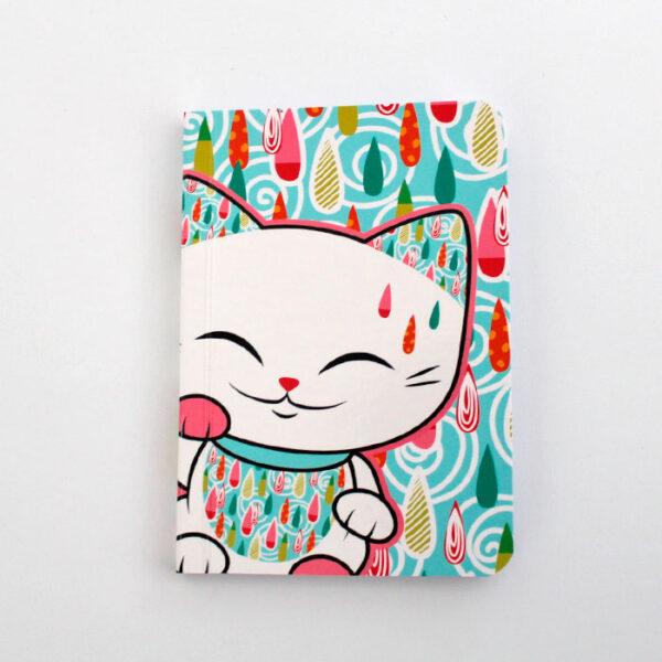 Carnet Mani the lucky cat, décor de gouttes colorées
