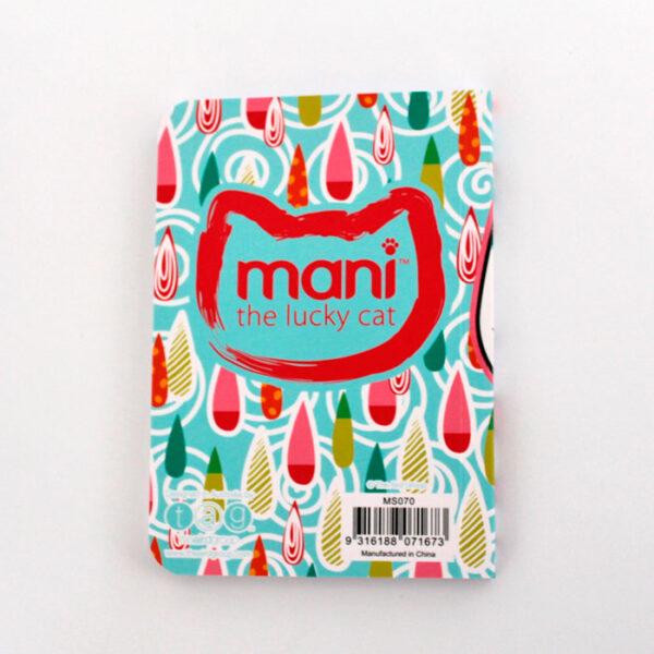 Carnet Mani the lucky cat, décor de gouttes colorées - verso