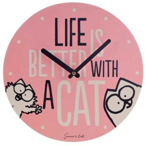 Horloge chat Simon's Cat ronde, couleur rose