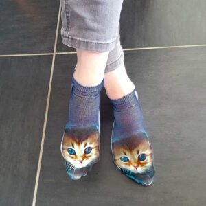 Socquettes femme chatons en trompe l'oeil
