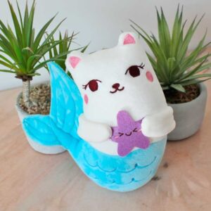 Peluche poisson-chat kawaii avec queue de sirène bleue