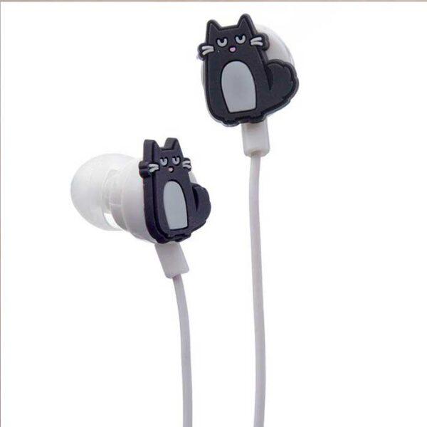 écouteurs chat noir, modèle chat entier