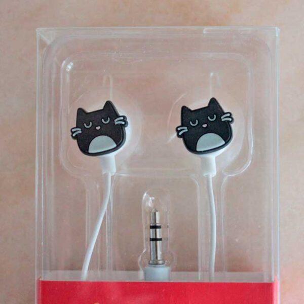 écouteurs chat noir, modèle tête de chat
