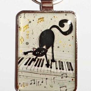 Porte-clés Chat sur un piano, collection Bug Art