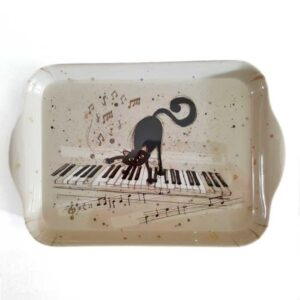 Plateau vide-poches chat sur un piano, collection Bug Art