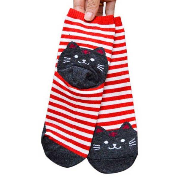 Chaussettes Chat kawaii rouge et gris