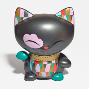Mani Lucky Cat gris anthracite - 11 cm