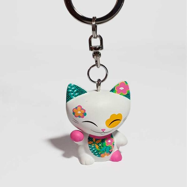 Porte-clés Mani the lucky cat blanc