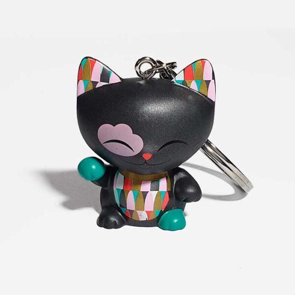 Porte-clés Mani the lucky cat noir et couleurs
