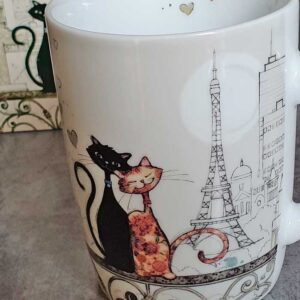 Mug Couple de chats à Paris face à la tour Eiffel, collection Bug Art