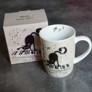 Mug Chat sur un piano, collection Bug Art Chat
