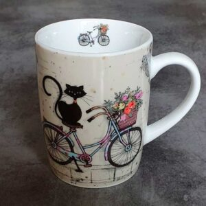 Mug Chat sur un Vélo, collection Bug Art Chat