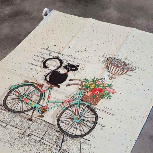 Torchon de cuisine Chat sur un vélo