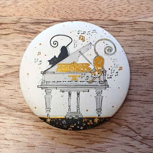 Magnet Bug Art 2 chats sur un piano