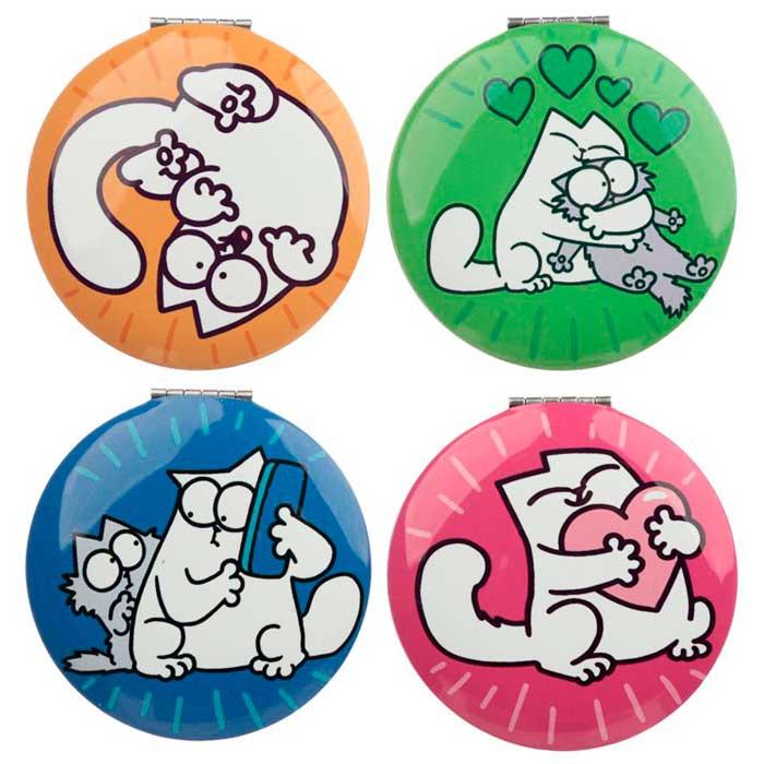Miroir rond Simon's Cat, 4 modèles aux couleurs pop