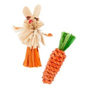 Jouet pour chat en paille et sisal, lapin et carotte