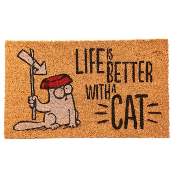 """Paillasson Chat Simon's Cat """"Life is better with a cat"""""""
