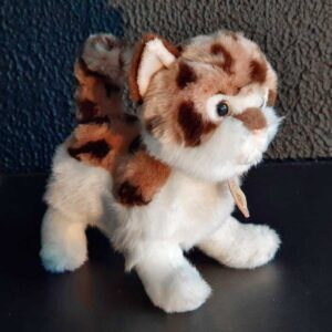 Peluche chat tacheté et blanc
