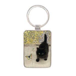 Porte-clés Chaton noir et papillon