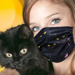 Masque en tissu chats noirs