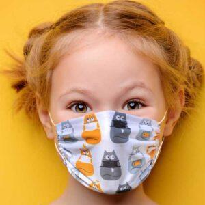 """Masque en tissu pour enfant """"les chats masqués"""""""