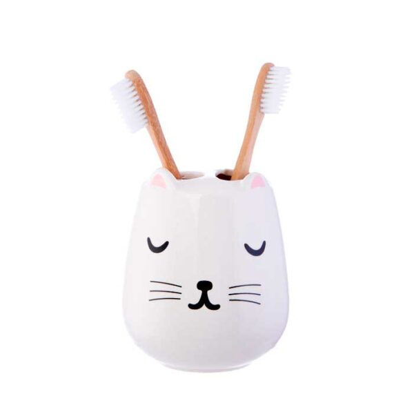Porte brosses à dents décor chat kawaii