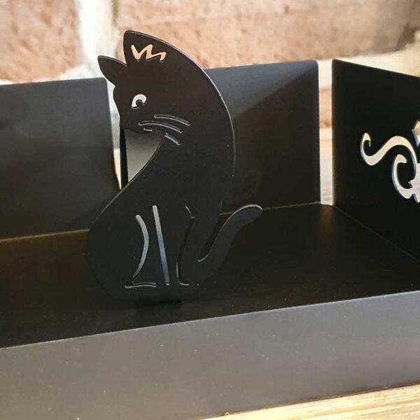 Porte serviettes Chat en métal noir ajouré