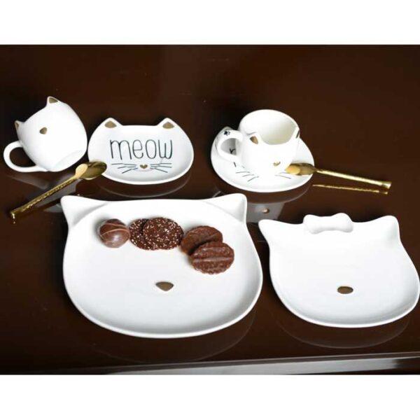 Service de table Chat avec assiettes et tasses à thé