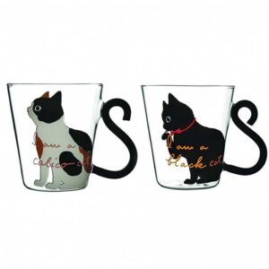 Lot de 2 tasses chat en verre transparent