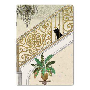 Cahier Chaton dans l'escalier, format A5, Bug Art chats