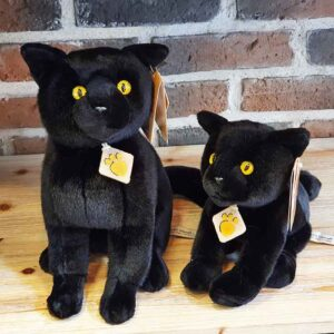 Peluche Chat noir assis, race Bombay