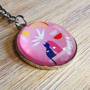 Porte-clés Chats Pop en verre, couleur rose bonbon