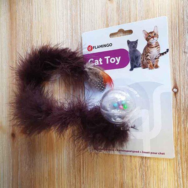 Jouet pour chat Balle avec billes colorés et long boa, marron