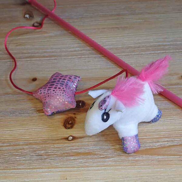 Canne à pêche Licorne blanche, jouet pour chat