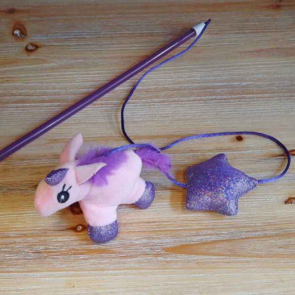 Canne à pêche Licorne rose, jouet pour chat