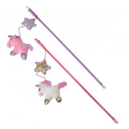 Canne à pêche Licorne, jouet pour chat