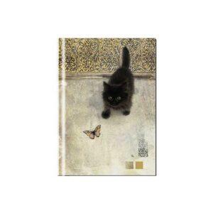 Carnet Chaton noir et papillon avec couverture rigide