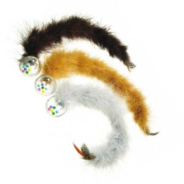 Jouet pour chat Balle avec billes colorés et long boa