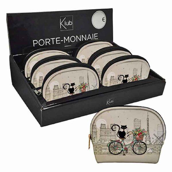 Porte-monnaie Chat sur un vélo, décor Paris et Tour Eiffel, Bug Art